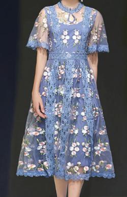 Antoinette 花柄 シースルー ワンピース 刺繍