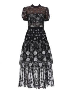 Antoinette Short sleeve Female Black flower Deco Sequin Crew Neck Midi Dress
