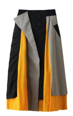 ENFOLD ナイロンツイル Mix Fabric スカート