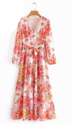 Antoinette Floral Print Long Maxi Dress Lady Lace Trim V Neck Long Sleeve Sashes