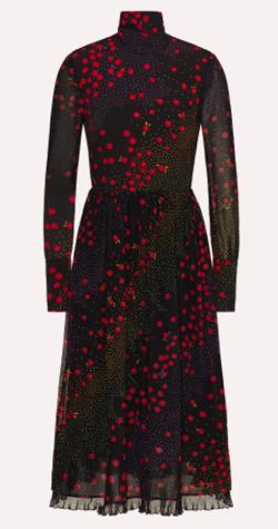 RED VALENTINO シルクドレス フラワー&ポルカドットプリント