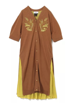 MUVEIL ビーズ刺繍ニットワンピース