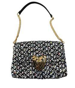 ESCADA Heart Multicolor Tweed Shoulder Bag