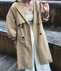 mite puff sleeve trench
