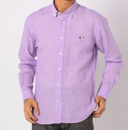 NOLLEY'S クジラ刺繍リネンボタンダウンシャツ