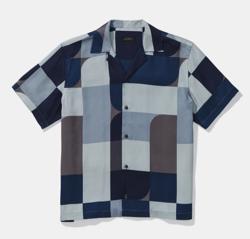 Saturdays NYC Canty Geoblock S/S Shirt Indigo
