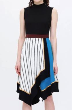 LOVELESS アシンメトリー カラーブロック ドレス
