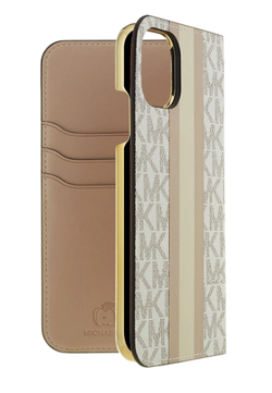 MICHAEL KORS Folio Case Beige Pink Stripe with Charm