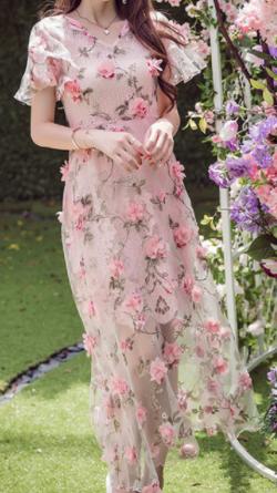 Antoinette 花柄 春物 ワンピース 可愛い ピンク
