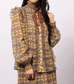 DOUBLE STANDARD CLOTHING オリジナル 楊柳ラメストライププリントブラウス