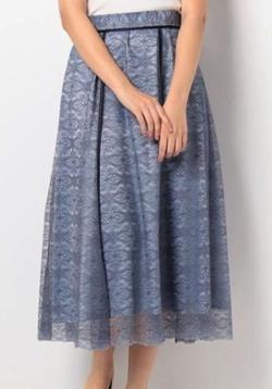 LANVIN en Bleu バイカラーレーススカート