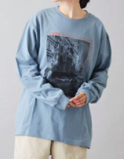 CUBE SUGAR OE天竺 プリント ロング Tシャツ