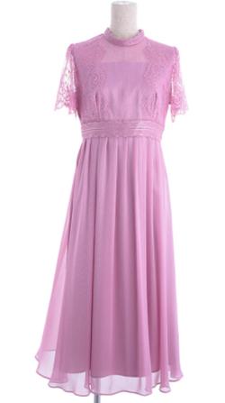 東京ソワールカレット レース 揚柳シフォンお袖付きセミロングドレス
