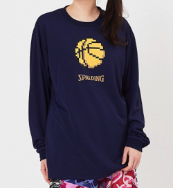 SPALDING ロングスリーブTシャツ ピクセルバスケットボール