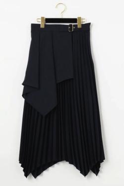 GRACE CONTINENTAL ベルト付レイヤープリーツスカート