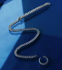D.U.E long chain pin & ear cuff