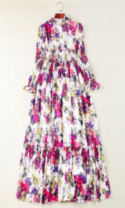 Antoinette Women's Summer Beach Chiffon Maxi Dress Elegant Elasticity Waist Floral Print Runway Maxi Long Dress