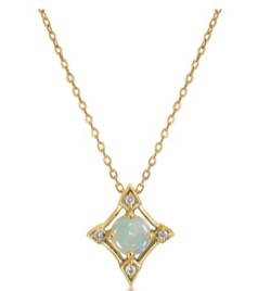 STAR JEWELRY K10 ネックレス DIAMOND & OPAL NECKLACE
