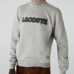 LACOSTE ヘリンボーンワッペンクルーネックスウェットシャツ