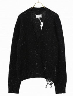 Maison Margiela ブラック デストロイ ヘム カーディガン