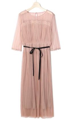 Debut de Fiore チュールストライプドレス