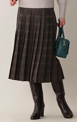 Paul Stuart WOMEN ドットチェックジャカードスカート