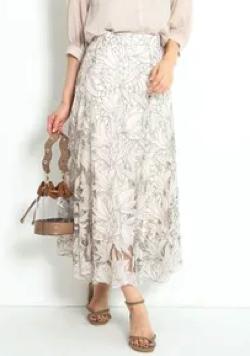 JUSGLITTY レース刺繍フレアスカート