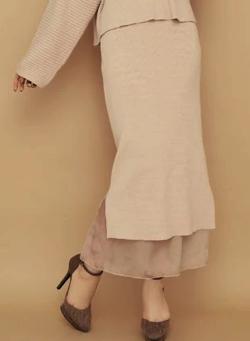 RESEXXY 裾シアードッキングニットスカート