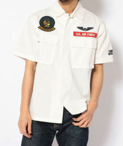 AVIREX PATCHED MILITARY SHIRT FIRE&ICE
