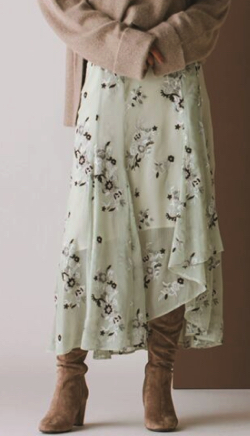 MERCURYDUO 楊柳刺繍イレヘムロングスカート