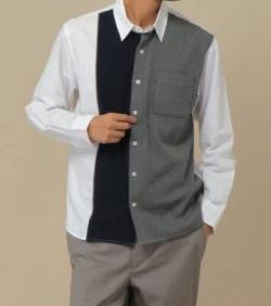 ikka (イッカ) オックスポンチ切り替えシャツ