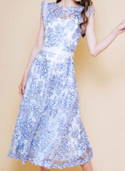 TADASHI SHOJI ブルー 桜レース ミモレ丈ドレス