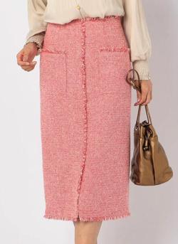 NOLLEY'S ツイードフリンジタイトスカート
