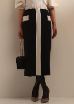 TIARA カラーブロックタイトスカート