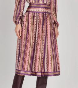 TORY BURCH Printed Silk Crepe De Chine Skirt