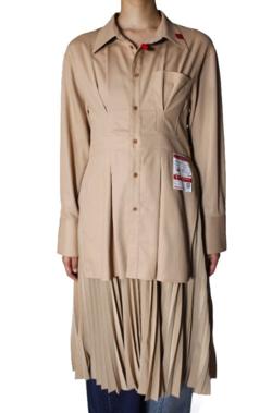 MAISON MIHARA YASUHIRO Pleats Skirt Docking Shirt Dress