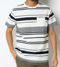 ikka 梨地ボーダーTシャツ