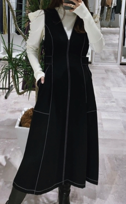 LADYMADE バイカラーステッチジャンバースカート