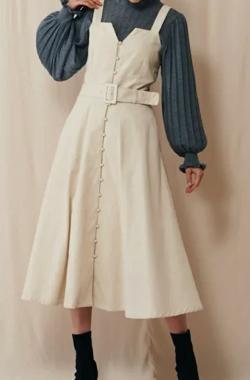 SupremeLaLa マエボタンフレアラインジャンパースカート