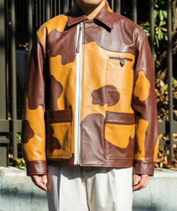 GOOD LOSER Patchwork Leather Modified Farmers Jacket