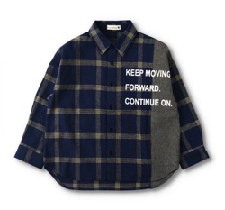 BRANSHES 異素材切替えチェックシャツ