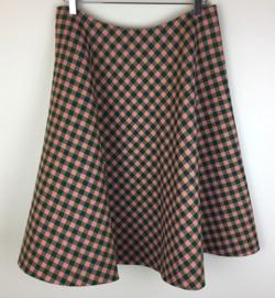 PRADA Green Gingham Check Wool Midi Skirt