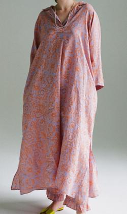 KALANCHOE Ramie print Caftan Dress Lilac