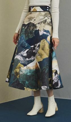 UNITED TOKYO ランドスケープ柄フレアスカート