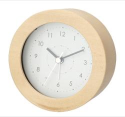 ニトリ 静音秒針 ライト・スヌーズ付き 目覚まし時計 ログ(ナチュラル)