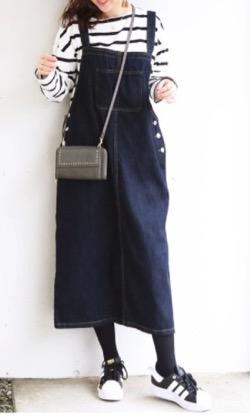 Milk tea ボクシーデニムサロペットスカート
