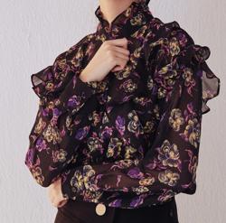 Lady Rora 花柄シフォンシアーシャツ