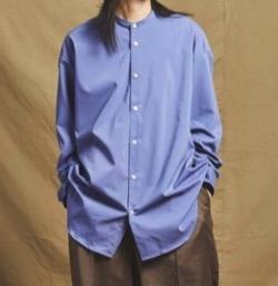 MAISON SPECIAL(メゾンスペシャル)プレーンストレッチオーバーサイズバンドカラーシャツ