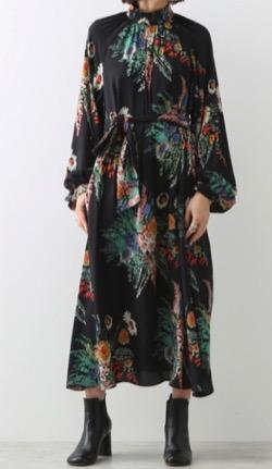martinique ヴィンテージフラワーハイネックドレス(ブラック)