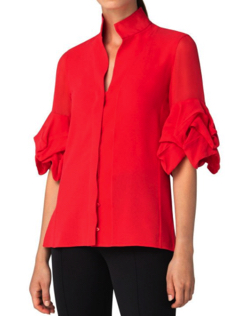 Akris Tiered-Sleeve Button-Front Collared Blouse